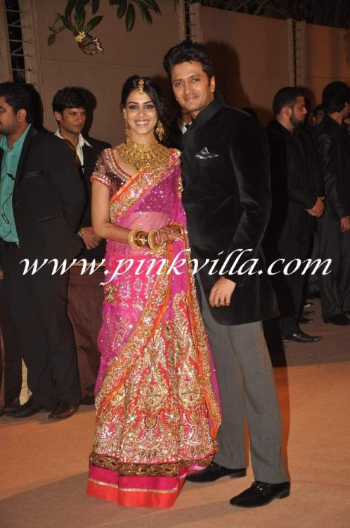 Riteish Deshmukh And Genelia DSouza At His Brothers Wedding Reception