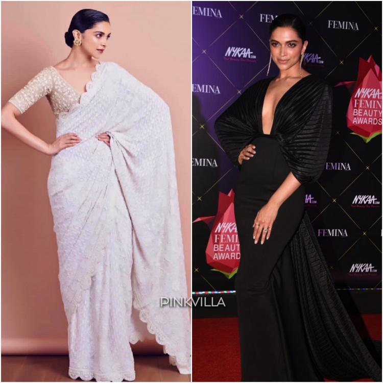 Deepika Padukone in Rahul Mishra at Lokmat Awards and Amit Aggarwal at Femina Beauty Awards 2019