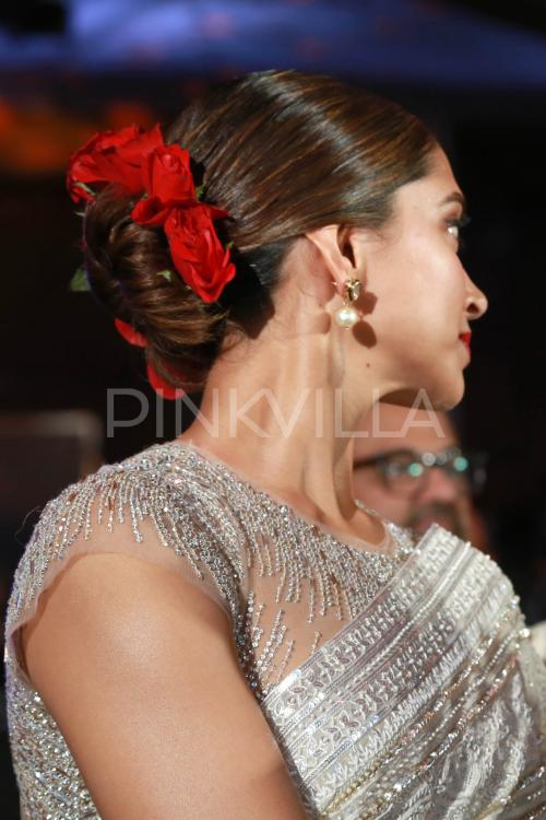 Red Roses And A Sparkly White Saree Added To Deepika S