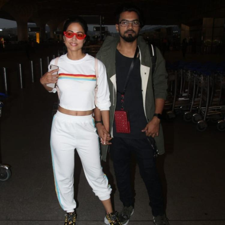 PHOTOS: Hina Khan and Rocky Jaiswal are one happy couple as they leave for Cannes