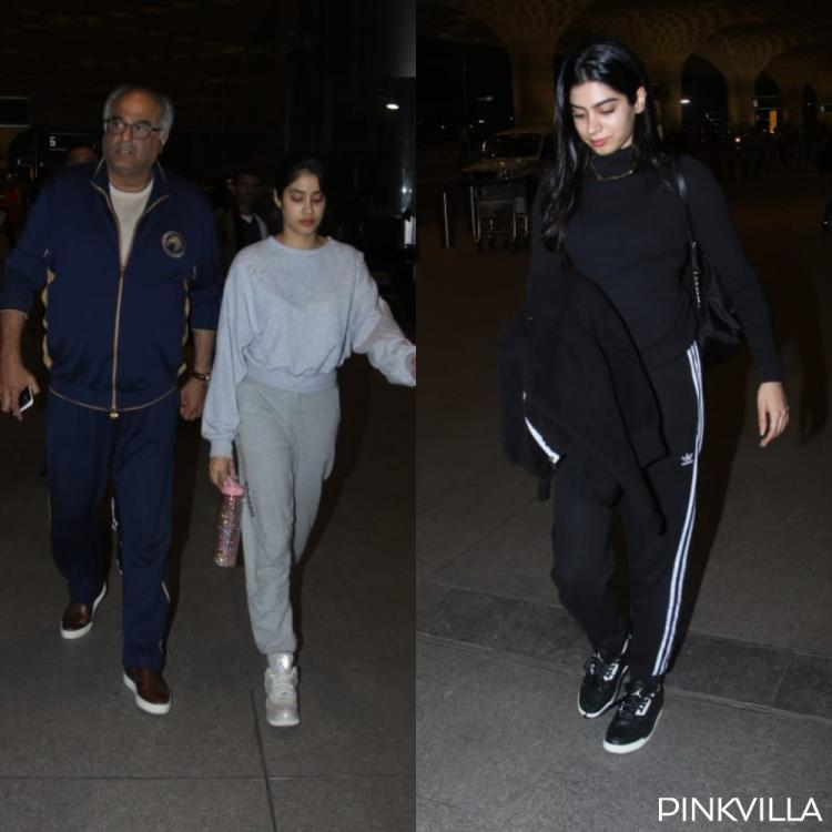Photos:Janhvi Kapoor, Khushi Kapoor and Boney Kapoor keep it casual as they get snapped at the airport
