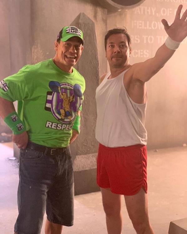 Jimmy Fallon shared a photo on Instagram with John Cena dressed up in his WWE gear.