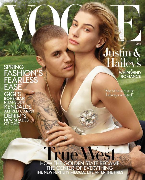Justin Bieber and Hailey Bieber are drenched in white love on the cover of Vogue's March 2019 issue