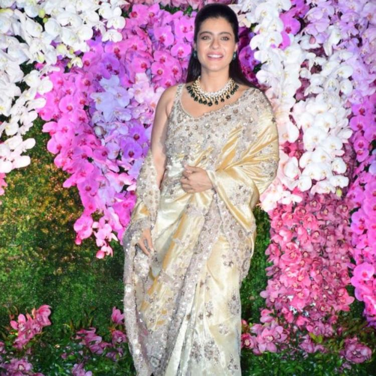 PHOTOS: Kajol is all smiles as she gets snapped at Shloka and Akash Ambani's wedding reception