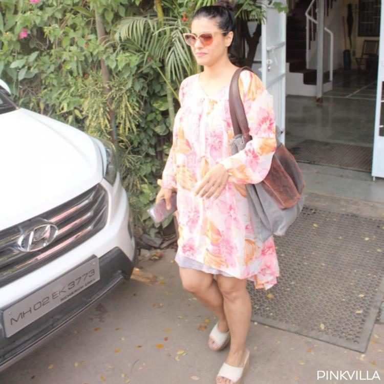 Photos: Kajol looks pretty in a breezy floral dress as she steps out of a clinic