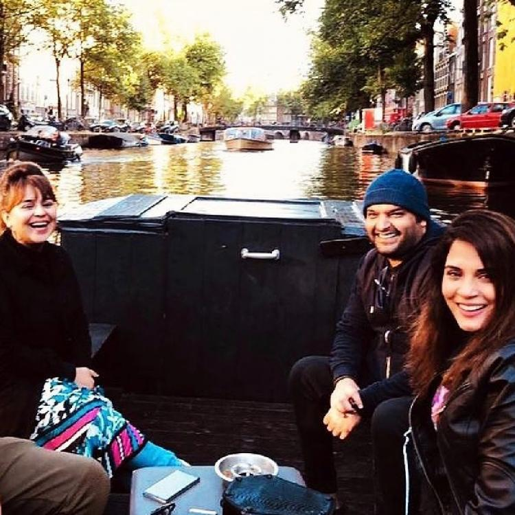 Kapil Sharma, Ginni Chatrath and Richa Chadha are all smiles as they enjoy a boat ride in Amsterdam; see pic