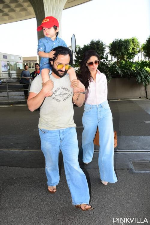 Kareena Kapoor Khan & Saif Ali Khan make bell bottom jeans look cool as they head for a vacation with Taimur