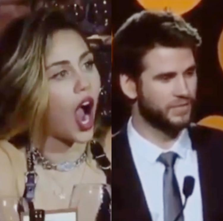 Miley Cyrus adorably heckles hubby Liam Hemsworth during his award acceptance speech; WATCH VIDEO