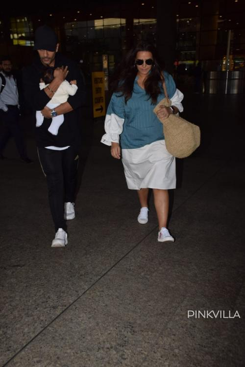 PHOTOS: Neha Dhupia and Angad Bedi return to bay from their Goa vacation with daughter Mehr