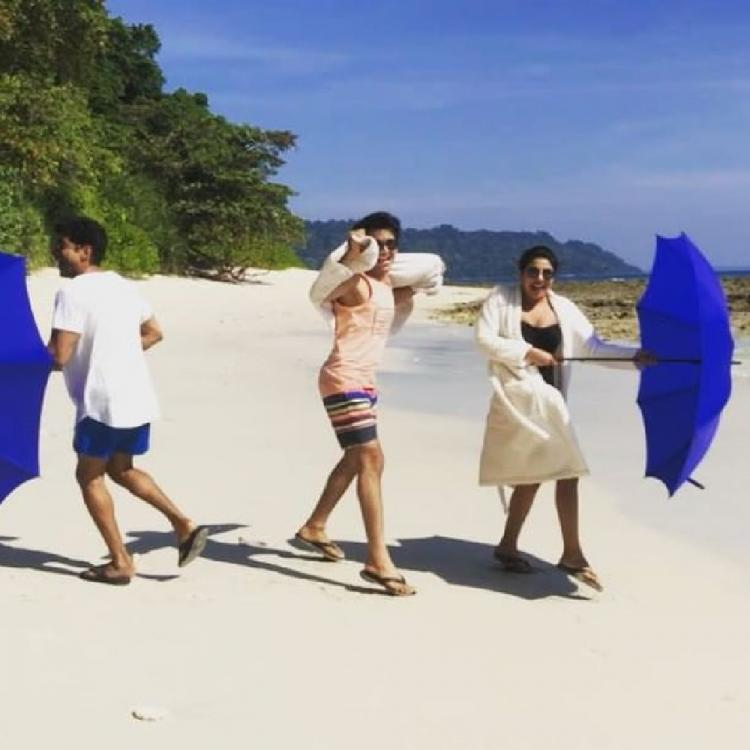 Priyanka Chopra Jonas & Farhan Akhtar get goofy with umbrellas on the beach before shooting The Sky Is Pink