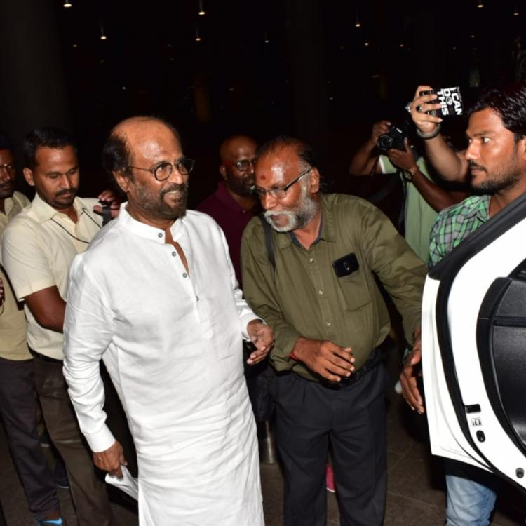 Rajinikanth is all smiles for the paparazzi as he gets clicked at the Mumbai airport