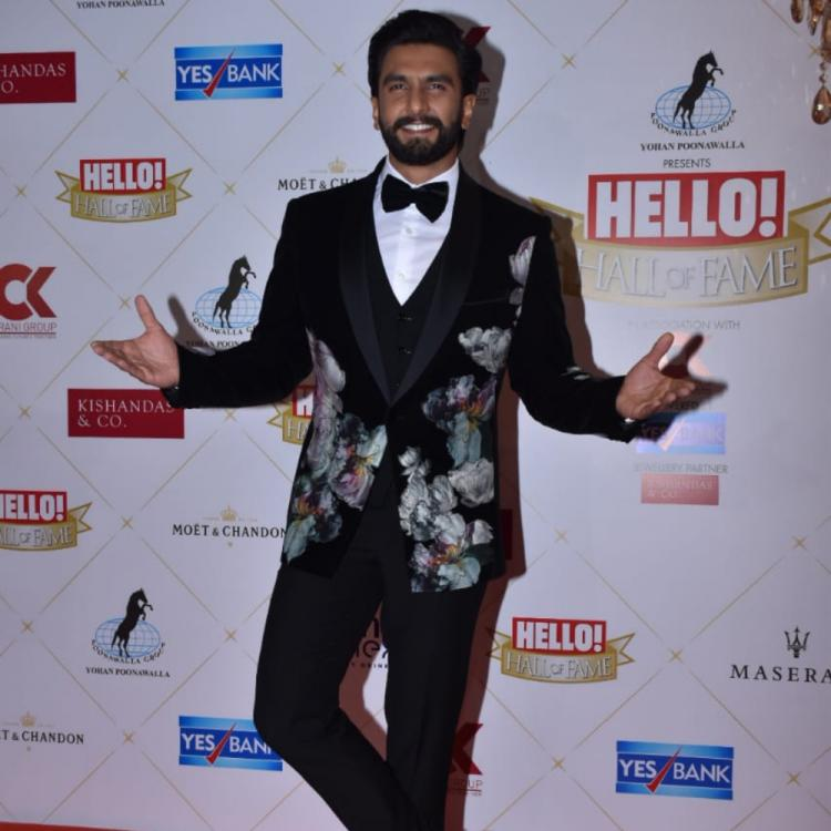 PHOTOS: Ranveer Singh gets snapped in a black floral jacket at the Hello! Hall of Fame Awards
