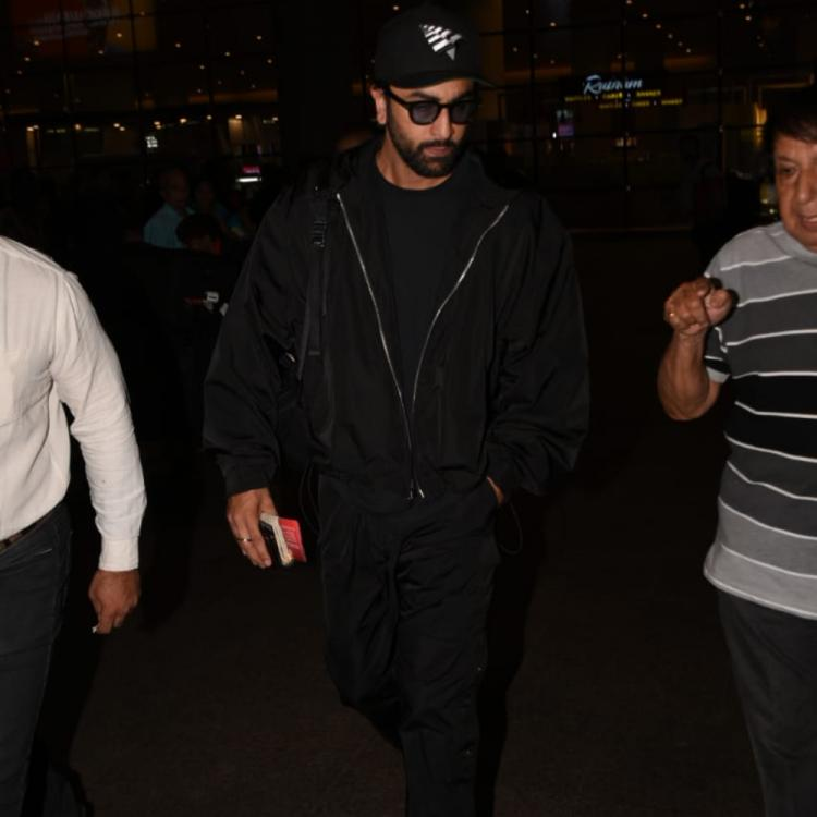 PHOTOS: Ranbir Kapoor looks dapper in black as he arrives at the airport
