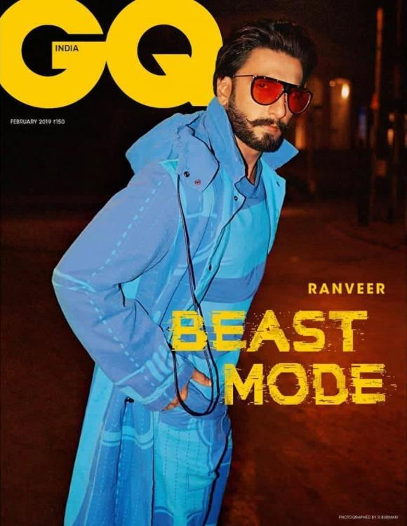 Ranveer Singh switches on his beast mode donning a cool blue look for GQ India's February 2019 cover