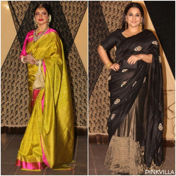 Photos: Rekha and Vidya Balan look ethereal in a saree at Sakshi Bhatt's wedding reception