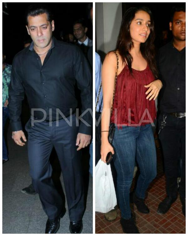 Papped Salman Khan Looks Dashing In Black While Shraddha Rocks The