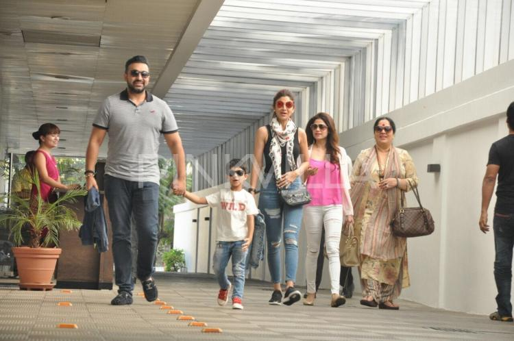 Spotted: Shilpa-Raj-Viaan have a lunch date with Shamita and