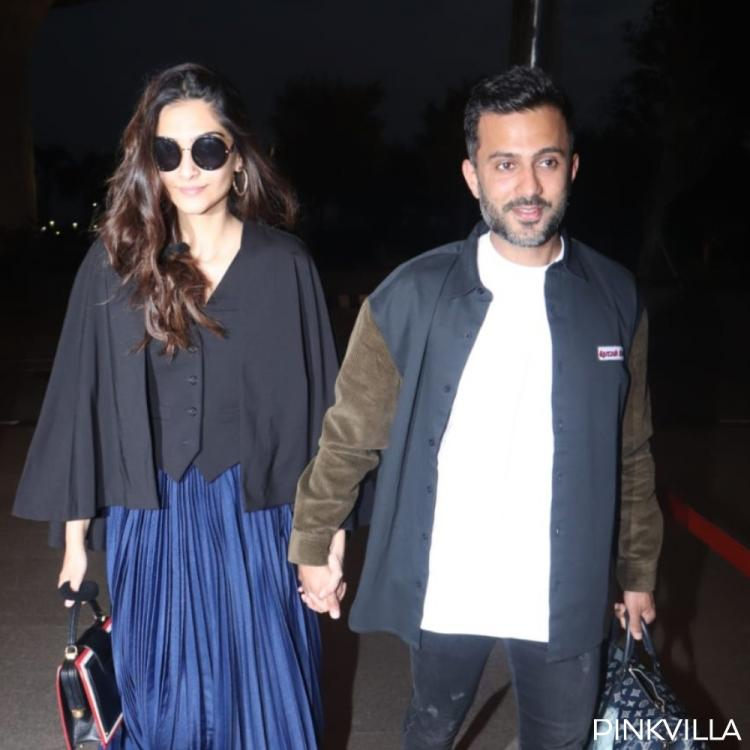 Sonam K Ahuja and Anand Ahuja walk hand in hand at the airport as they jet off to New Delhi; See Pics