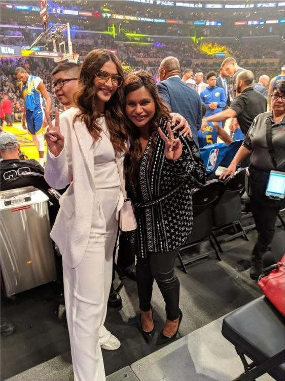 Sonam K Ahuja bumps into Mindy Kaling at Lakers Game, Anand S Ahuja clicks the picture perfect moment