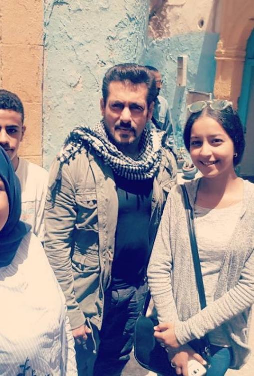 salman khan poses with fans during the shoot of tiger zinda hai in morocco