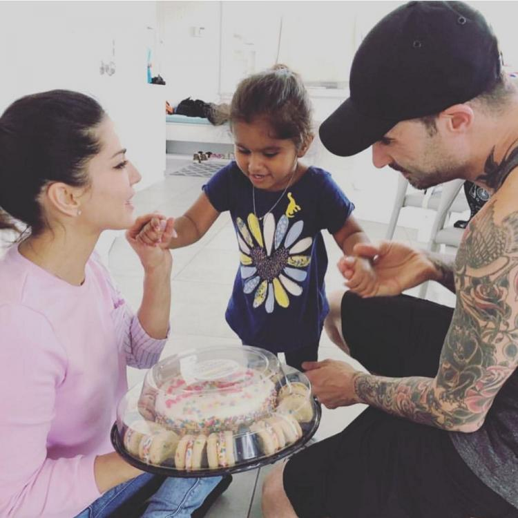 Sunny Leone's daughter Nisha made a special cake for her parents' anniversary and it is too cute to be missed