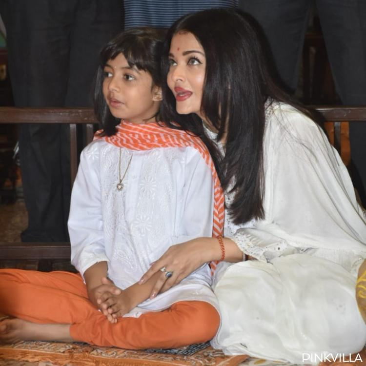 PHOTOS: Aaradhya Bachchan twins in white with mom Aishwarya Rai Bachchan for Dussehra Puja