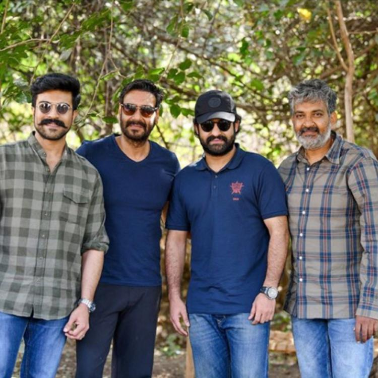 RRR: Ram Charan gives a warm welcome to Ajay Devgn on the sets of SS Rajamouli directorial; See PHOTOS