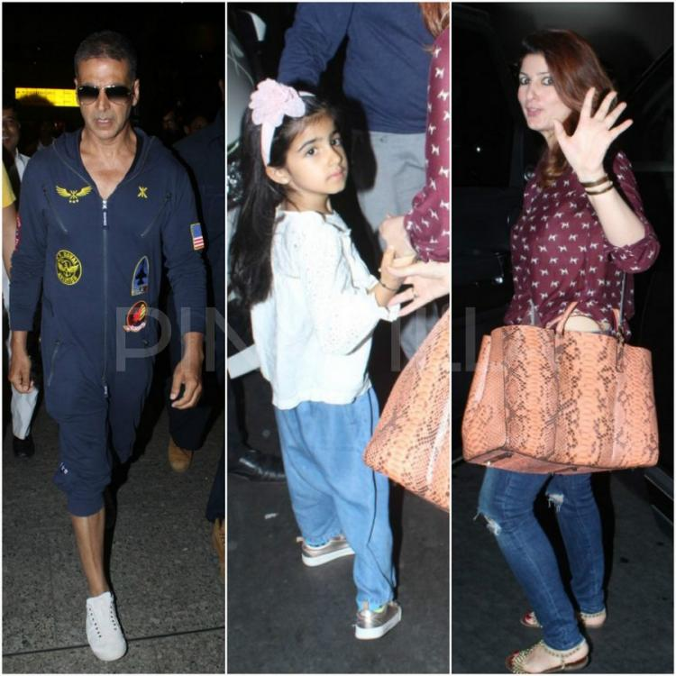 Akshay Kumar and Twinkle Khanna along with daughter Nitara returned to the  city from a vacation. The family was clicked at the Mumbai airport today.