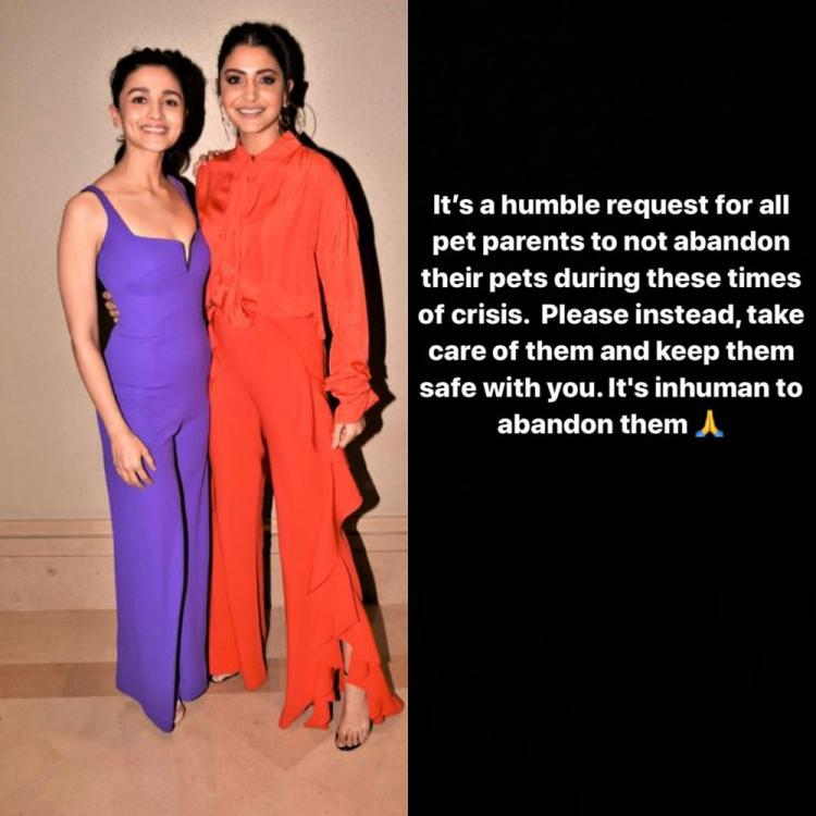 Alia Bhatt and Anushka Sharma urge fans to not abandon their pets amid COVID 19; Say 'Keep them safe with you'