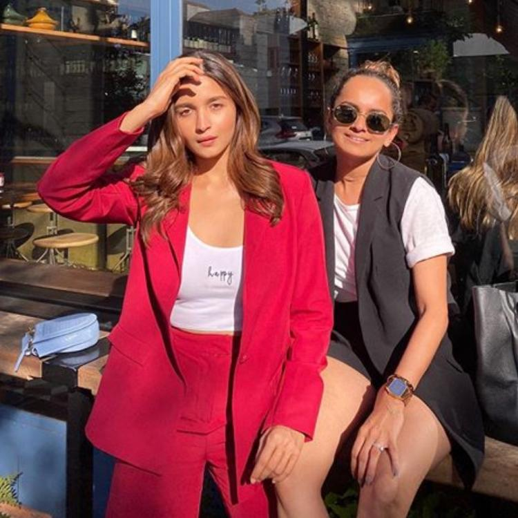 Alia Bhatt looks gorgeous in a red pantsuit as she chills with her team in LA & we can't take our eyes off her