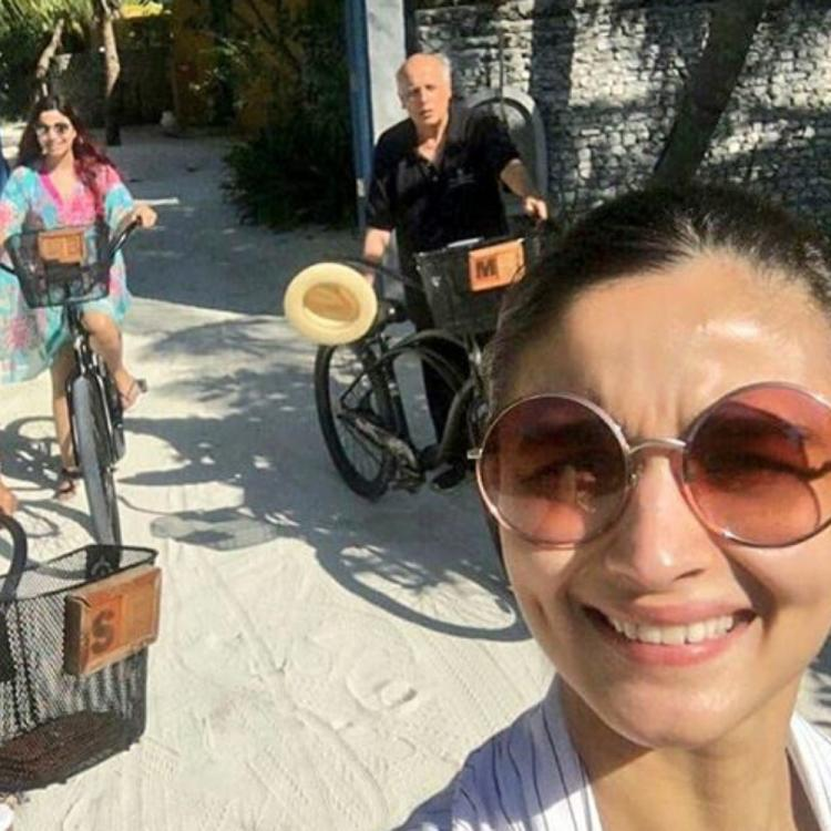Alia Bhatt captures a selfie as she goes cycling with Mahesh Bhatt, mom & sis in a throwback family vacay; PIC
