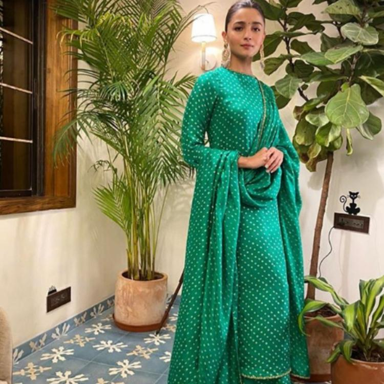 Alia Bhatt looks gorgeous as she puts together green and white polka dots in a Sabyasachi salwar suit