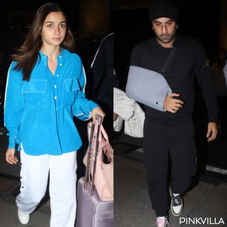 Alia Bhatt joins an injured Ranbir Kapoor at the Mumbai airport as they head out of the city; See Pics