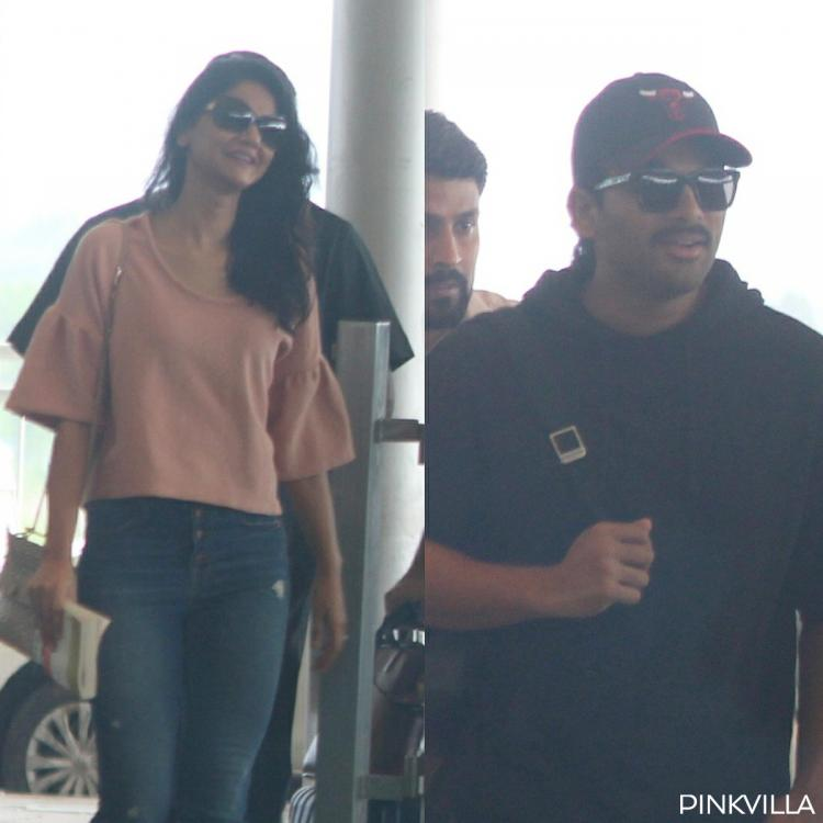 Allu Arjun and wife Sneha go casual as they get spotted at the Hyderabad airport; View Pics