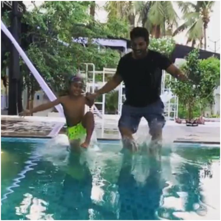 Hey Salman Khan, Allu Arjun and son Ayaan take a dive in 'Slow Motion' and this video is worth your watch