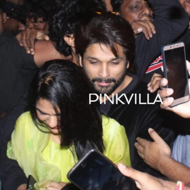 PHOTOS: Allu Arjun is the perfect protective hubby to Sneha as they step out of cinema hall amidst huge crowd