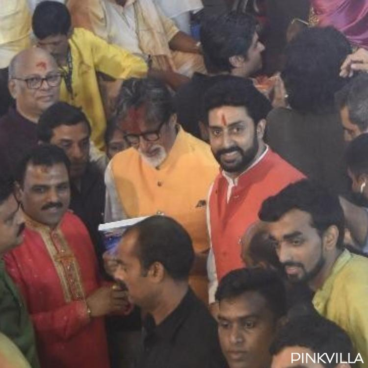 PHOTOS: Amitabh Bachchan & son Abhishek Bachchan arrive together to seek the blessings of Lord Ganesha
