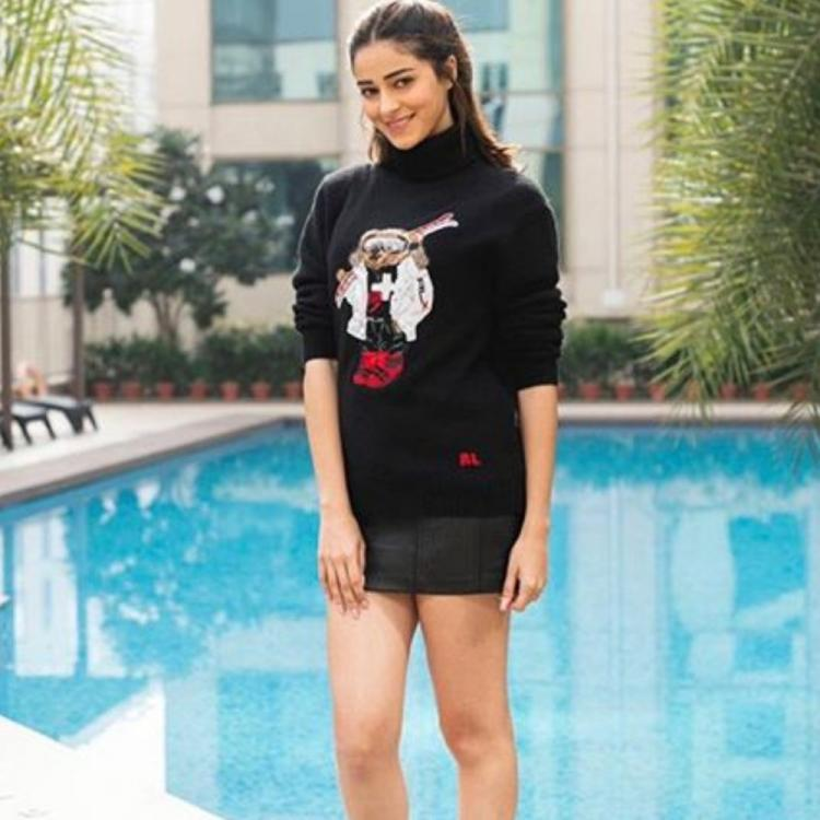 PHOTOS: Ananya Panday's winter style is on fleek as she dons a cardigan with mini skirt & leaves us swooning