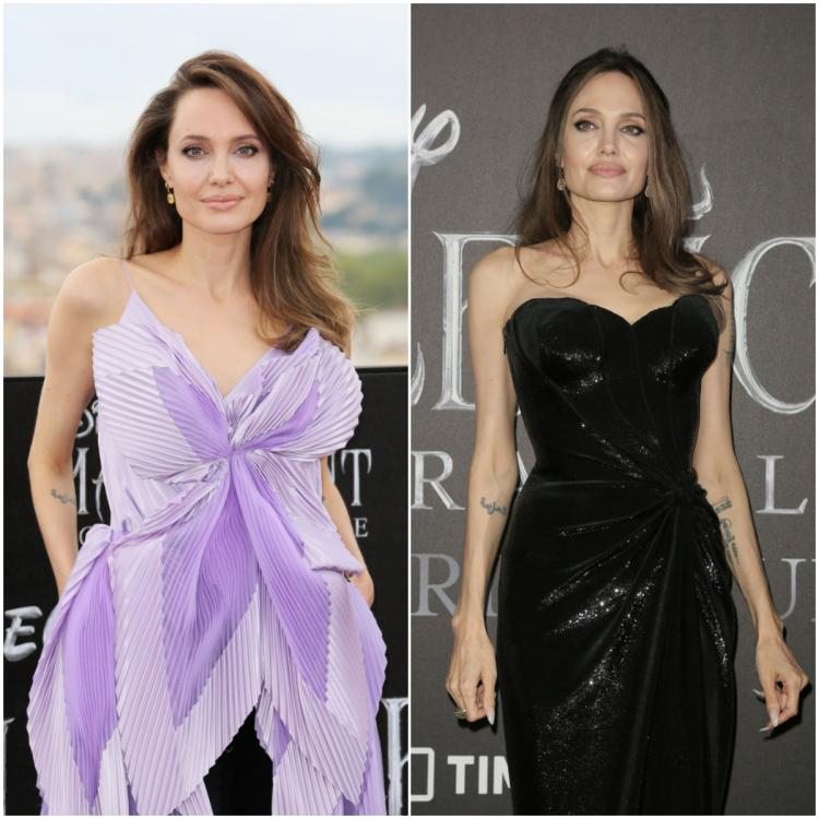 Angelina Jolie goes from purple in Givenchy to black in Versace for Maleficent's events: Which do you prefer?