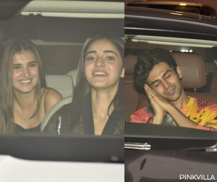 PHOTOS: Ananya Panday and Tara Sutaria can't control their laughs; Kartik Aaryan flaunts his new look