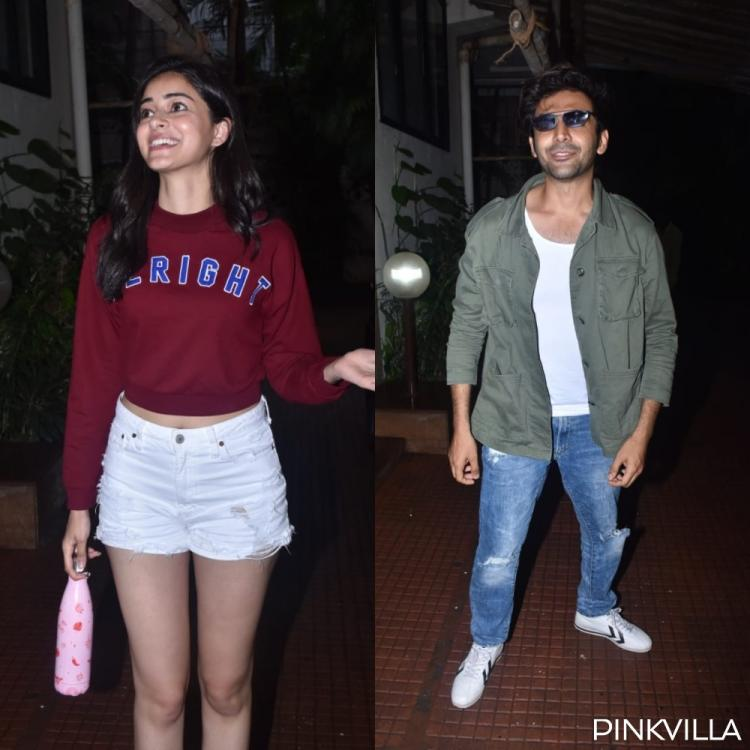 PHOTOS: Pati, Patni Aur Woh actors Ananya Panday & Kartik Aaryan arrive for a meeting
