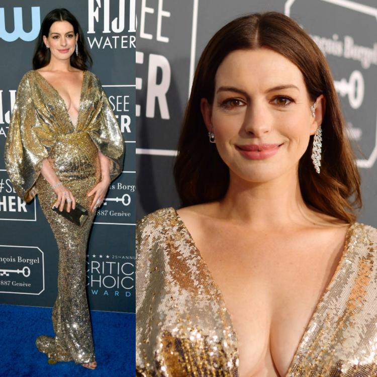 Anne Hathaway makes her first appearance post delivery in a sparkly Versace dress and we are all for it