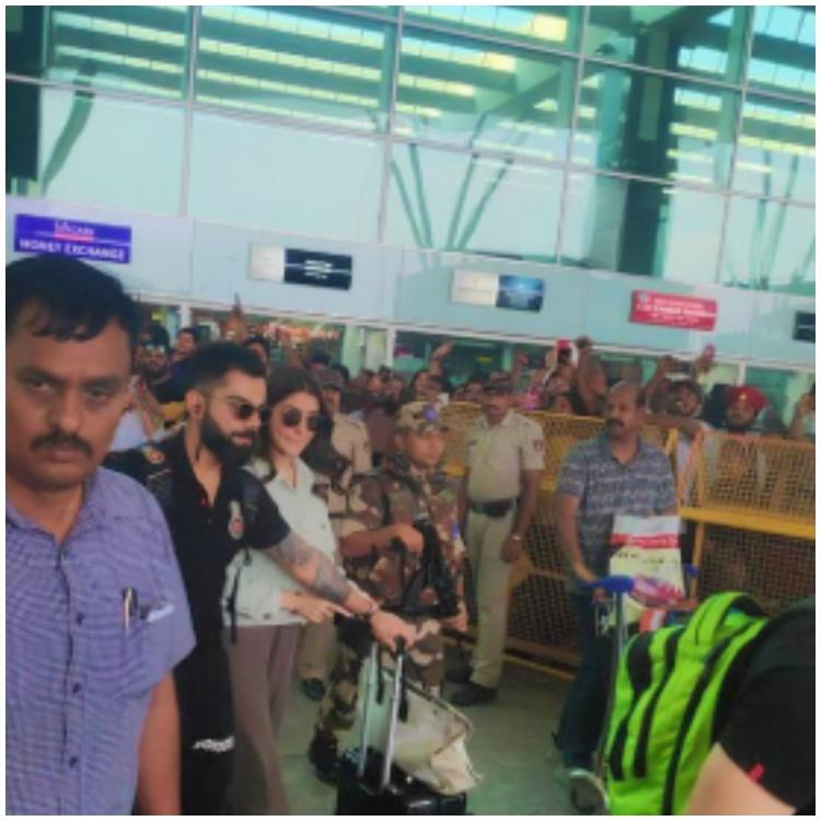 PHOTOS: Anushka Sharma and Virat Kohli arrive in Bangalore amidst great fanfare ahead of match with CSK