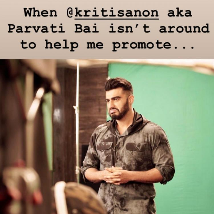 Panipat: Arjun Kapoor expresses how he feels when co star Kriti Sanon is NOT with him during promotions