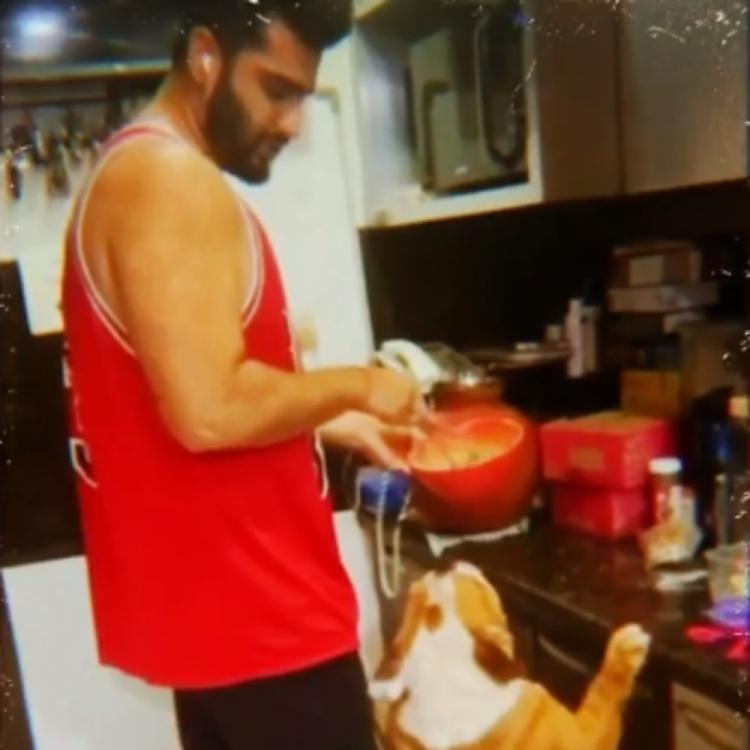 Arjun Kapoor's pet dog Maximus entertains him as he tries his hands at baking amid lockdown; Watch VIDEO