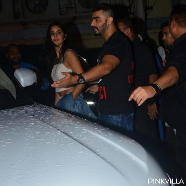 Photos: Arjun Kapoor plays the protective friend to Katrina Kaif as they get mobbed post a movie screening
