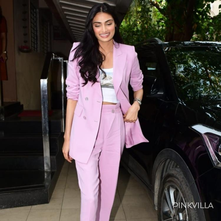 Athiya Shetty is all things pretty as she dons a lavender pantsuit and heads out in the city; See Pics