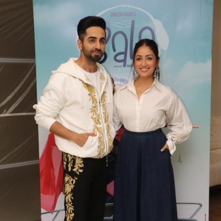 PHOTOS: Ayushmann Khurrana and Yami Gautam twin in white for the promotions of Bala