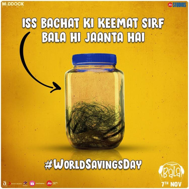 Bala: The makers of Ayushmann Khurrana starrer share a hilarious new poster on World Savings Day