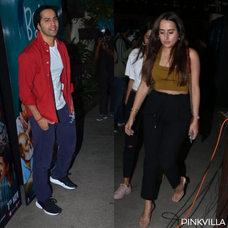 PHOTOS: Varun Dhawan and girlfriend Natasha Dalal are all smiles as they attend the screening of Bala